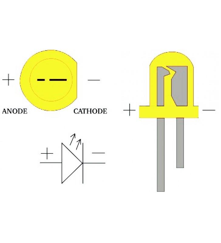 LED Difuso Amarelo de 5mm (kit com 10 unidades)