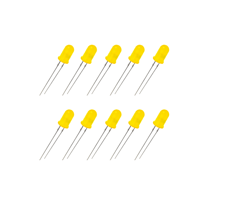 LED Difuso Amarelo de 5mm (kit com 5 unidades)