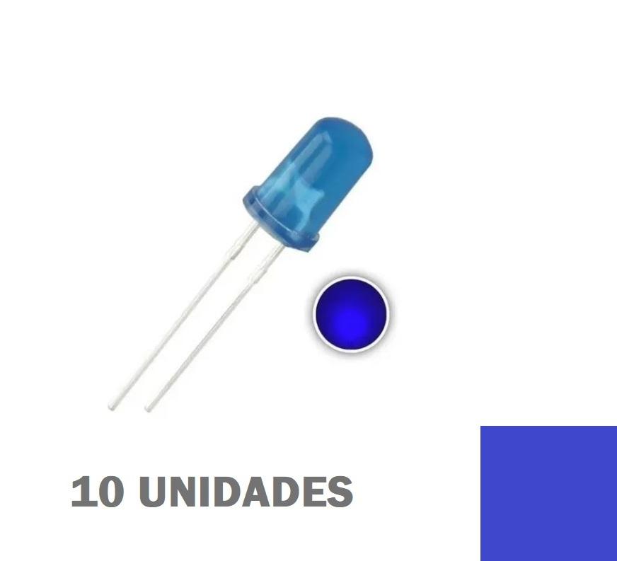LED Difuso Azul de 5mm (kit com 10 unidades)
