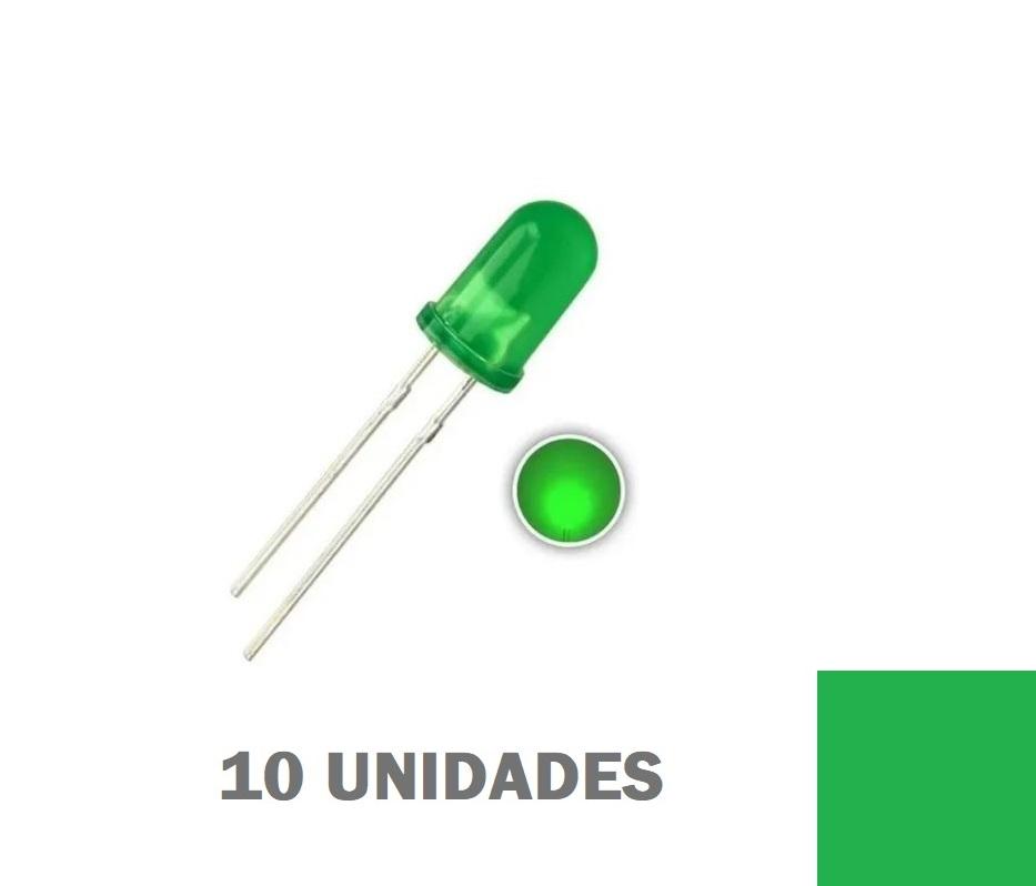 LED Difuso Verdede 5mm (kit com 10 unidades)