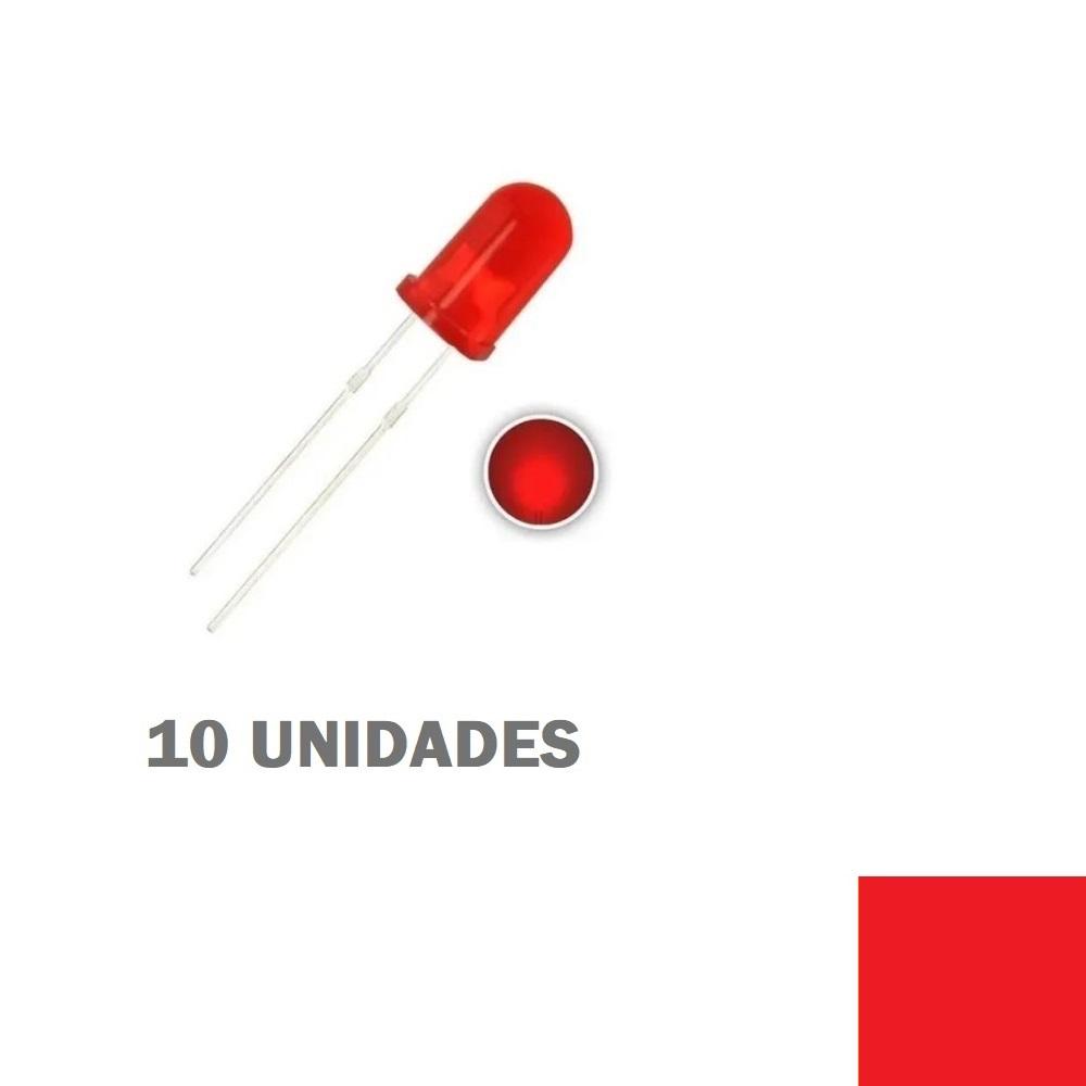 LED Difuso Vermelho de 5mm (kit com 10 unidades)