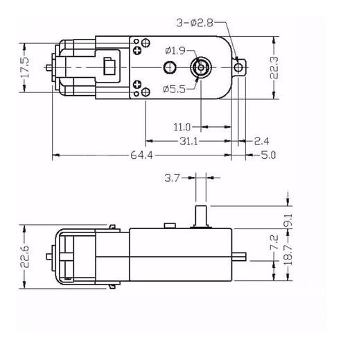 Motor Dc de 3 A 6v com Redução para Smart Car 2wd Arduino