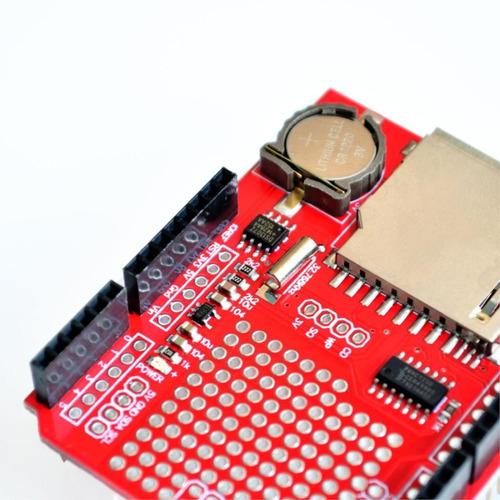 Shield Data Logger Arduino Rtc Ds1307 Entrada Sd E Bateria