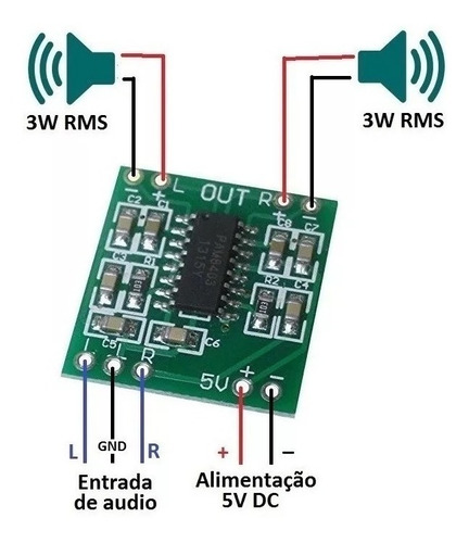 Super Mini Placa Amplificador Digital Pam8403 saida 2x 3w