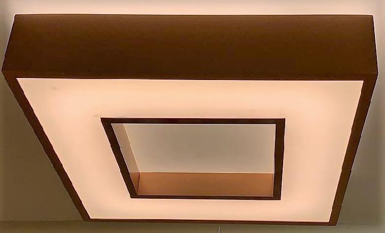 PLAFON NEW CHESS LED 25,2W 3000K 127/220V 350X350X83 COBRE BRILHO 511LED3COB