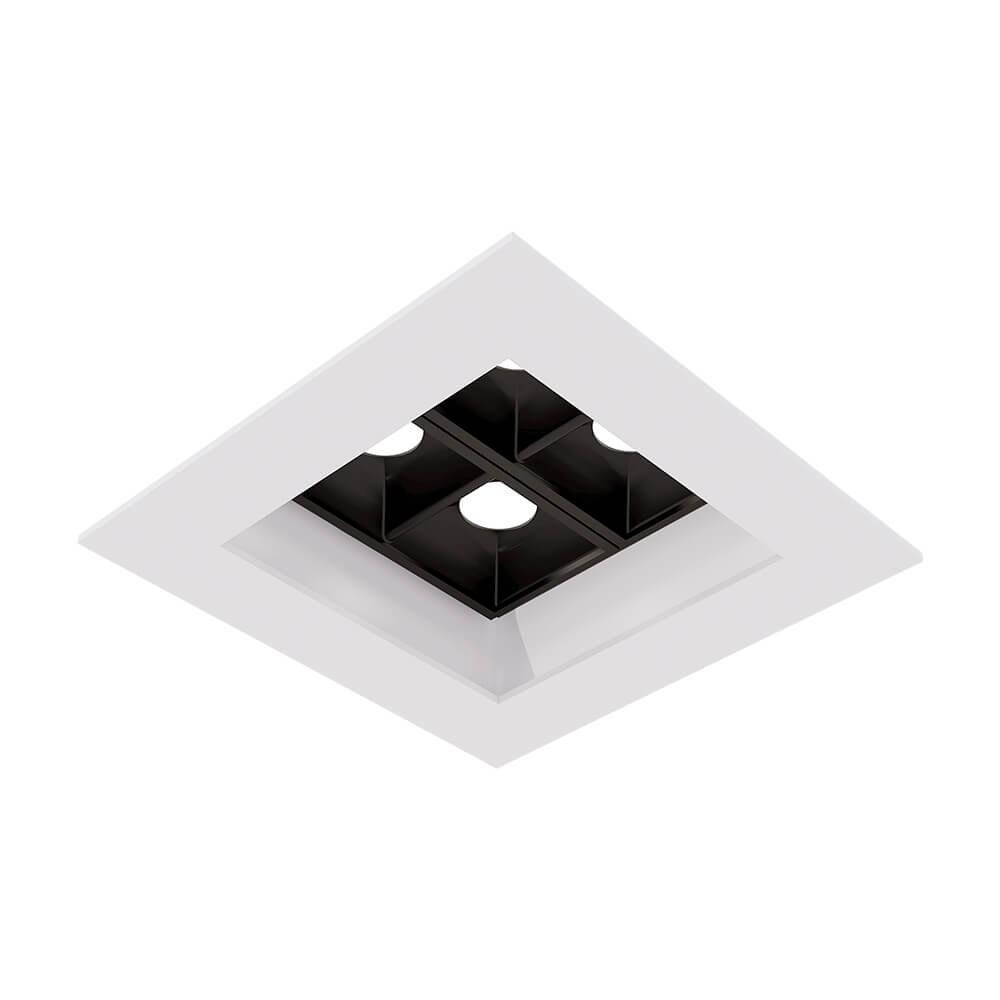 SPOT DE EMBUTIR FLAT LED QUADRADO C/4 FOCOS 10º 4W 3000K  90X90X45MM EM0440LED3BT NEWLINE