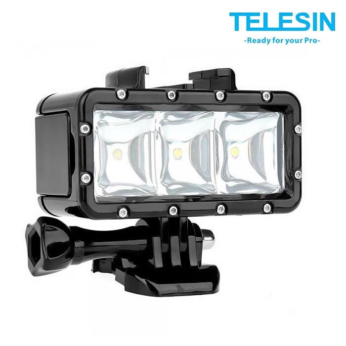 Telesin GP-LTG-002 Iluminador Led Triplo para GoPro - Prova Dagua 30m - 2 Baterias