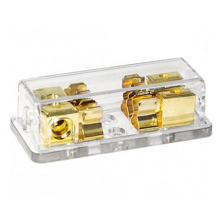 Gold Plated Bloco Distribuidor Porta Fusivel AGU - 1 entrada e 2 saídas