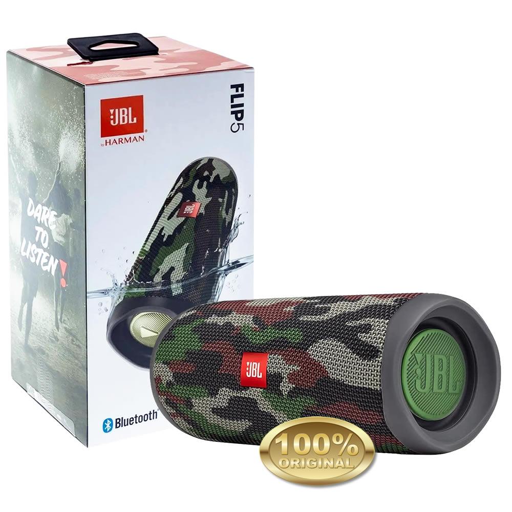 JBL Flip 5 Caixa Acustica Portatil Bluetooth - Prova Dagua - Squad - Camuflada