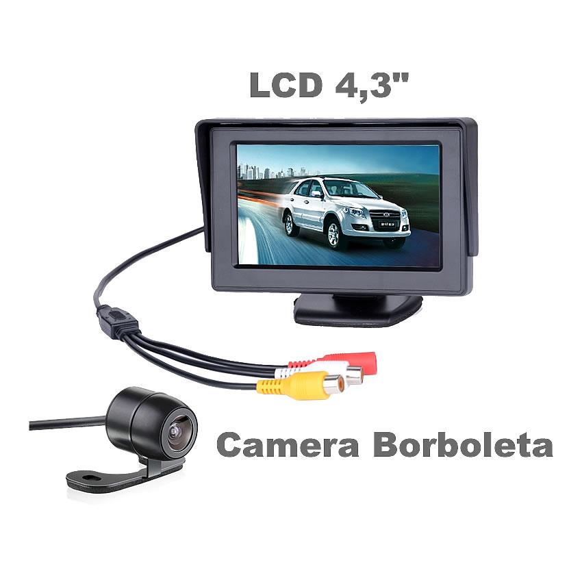 Monitor Tela LCD 4,3 + Camera de Ré Borboleta