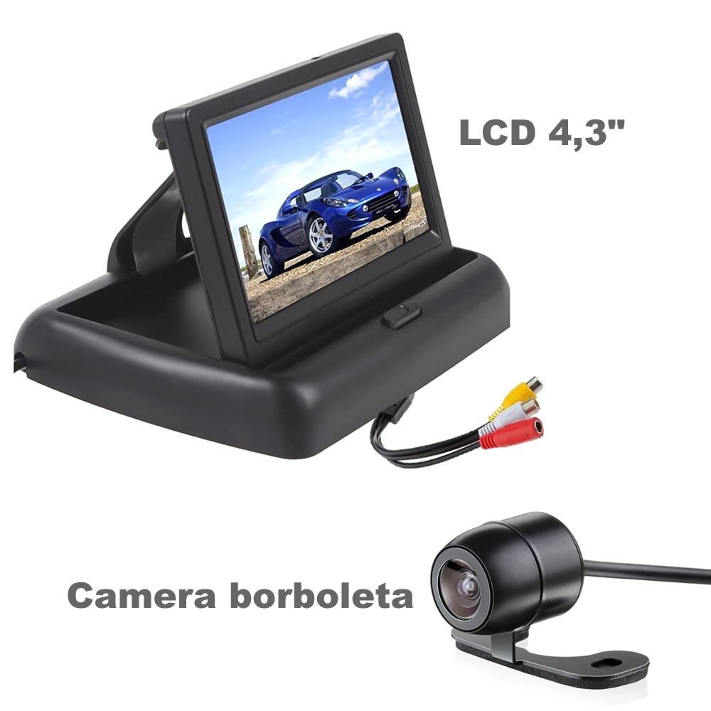 Monitor Tela LCD 4,3 Retratil + Camera de Ré Borboleta