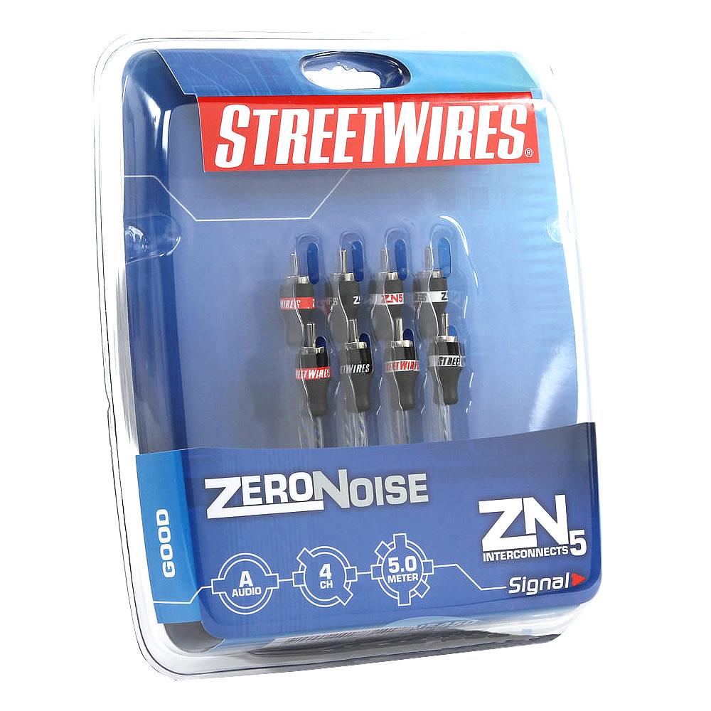 MTX Streetwires Zeronoise ZN5450 - Cabo RCA 4 canais Siliconado Blindado Ox-Free - 5m