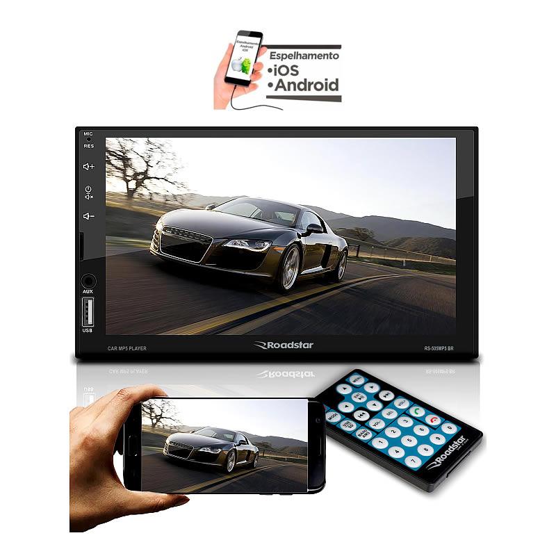 Roadstar RS505 Central Multimidia - Tela 7 - Bluetooth - Espelhamento Android - Aux - USB - 4 RCA