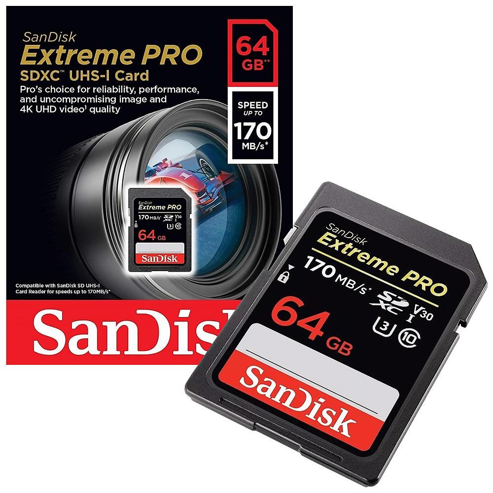 Sandisk Extreme PRO SDXC UHS-1 4K Classe 10 U3 V30 170mb/s - 64GB