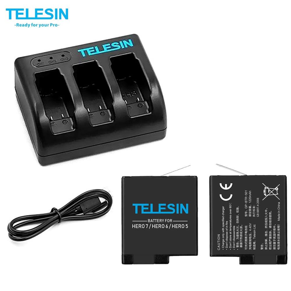 Telesin Carregador Triplo GP-BNC-503 + 2 Baterias 1220 mAh para GoPro 5 a 8