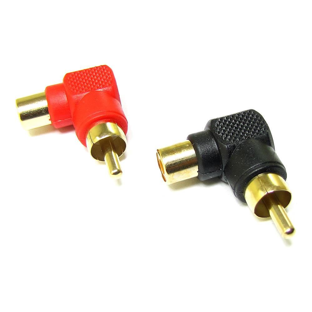 Technoise Terminal Adaptador RCA 90 graus - par preto e vermelho
