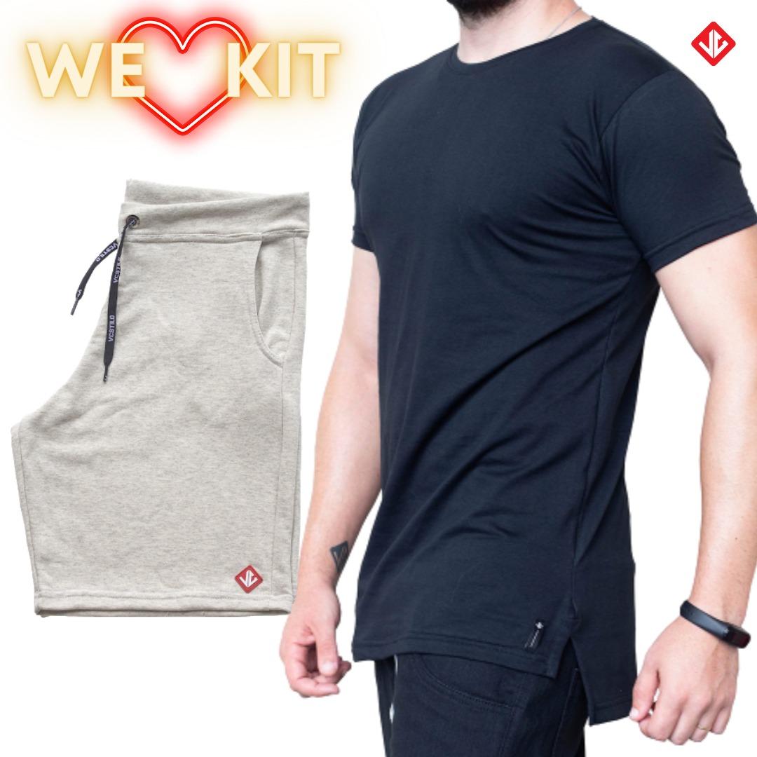 kit Camiseta Over + Bermuda Moletinho