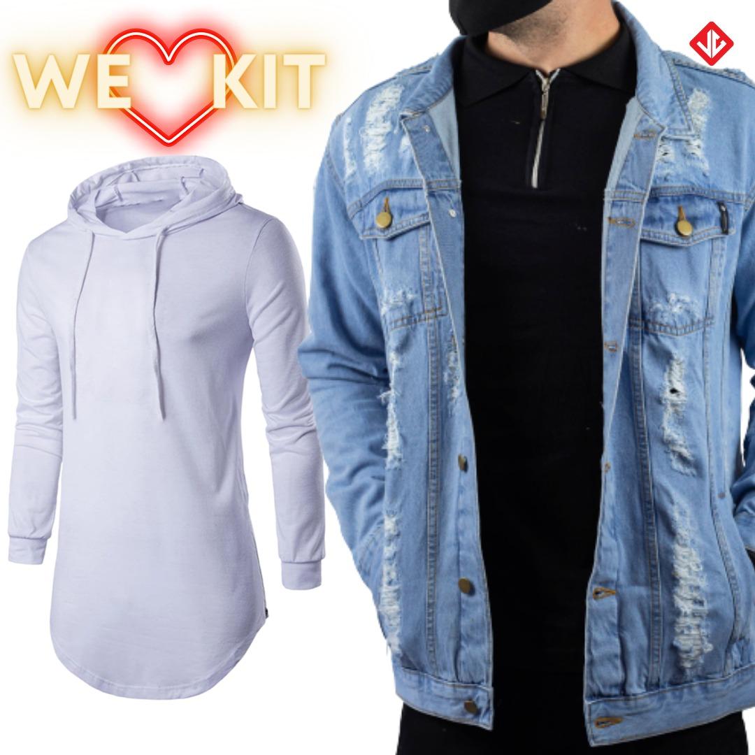 Kit Camiseta LongLine + Jaqueta Jeans