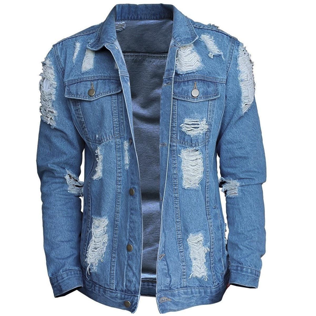 JAQUETA JEANS DESTROYED B34