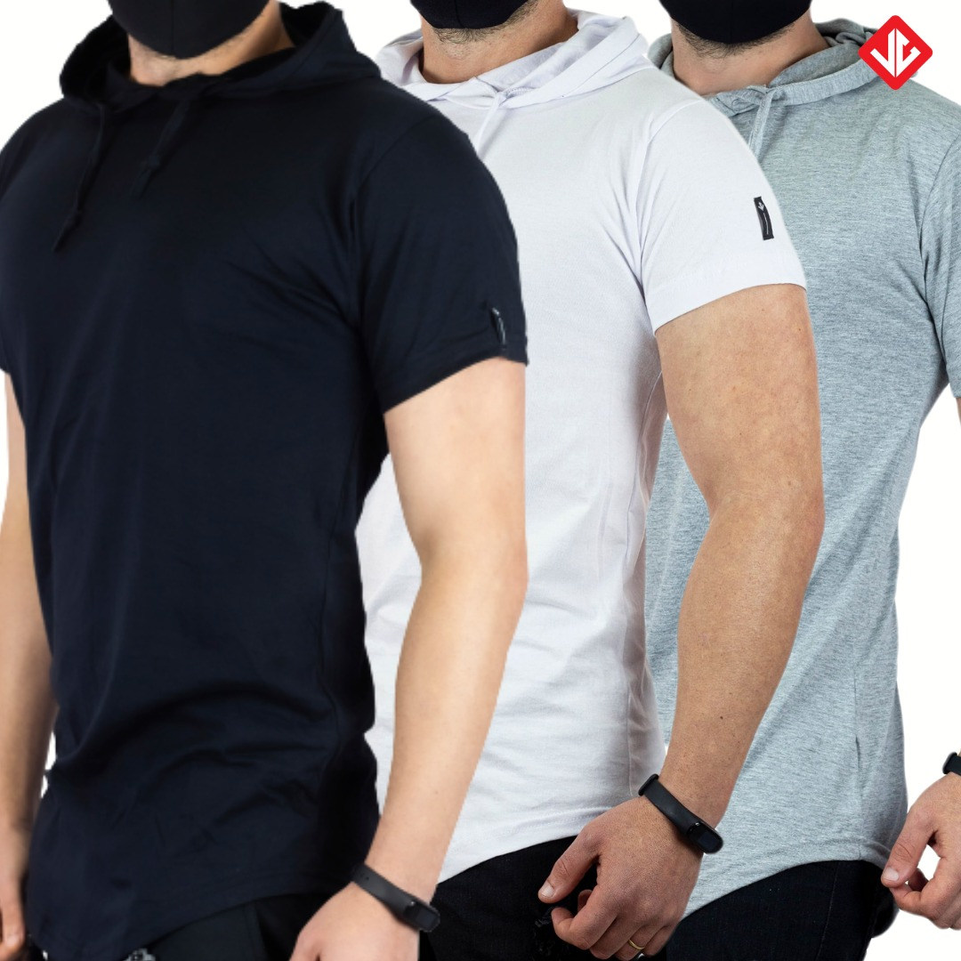 Kit3 Camisetas LongLine Capuz