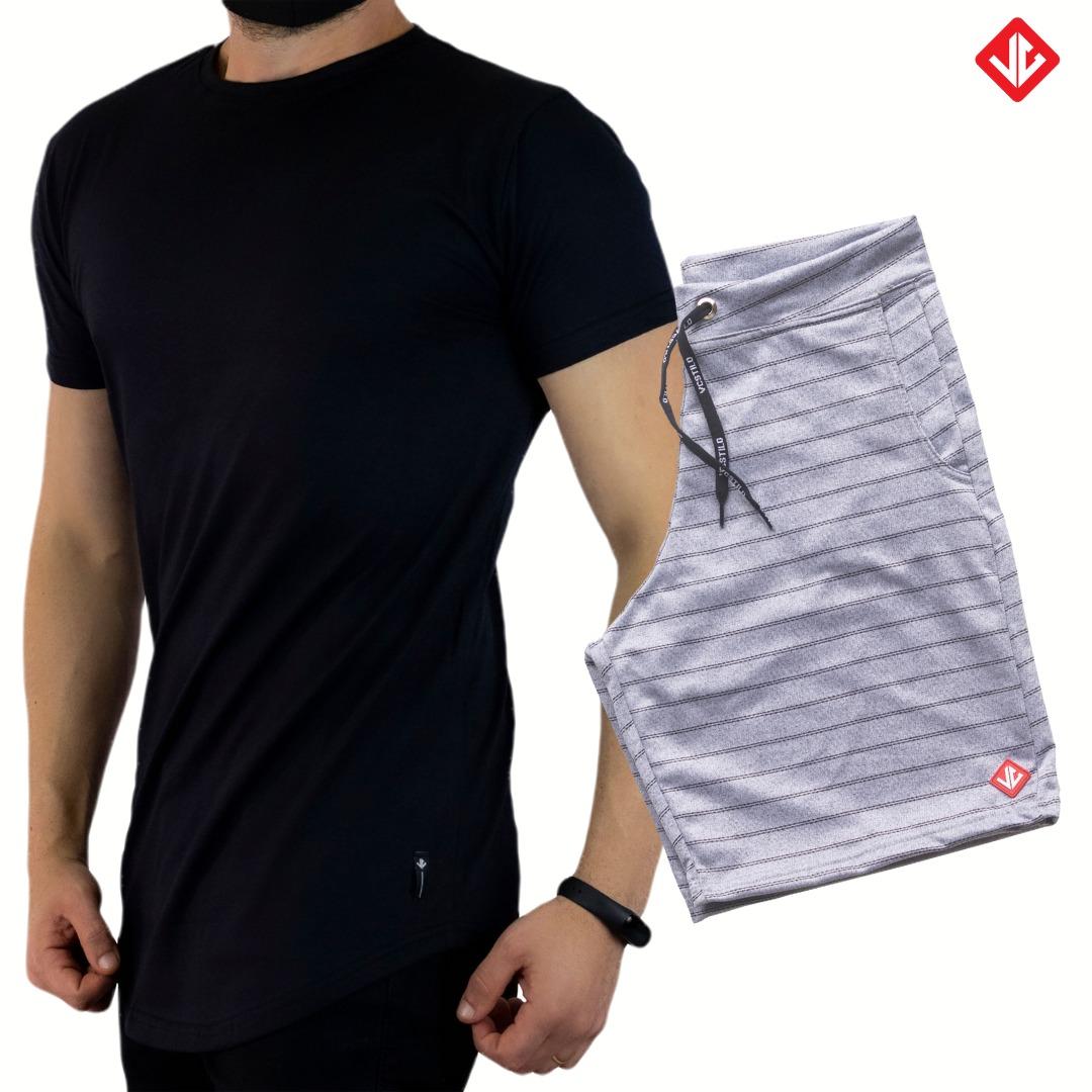 Kit Camiseta LongLine + Bermuda Moletinho