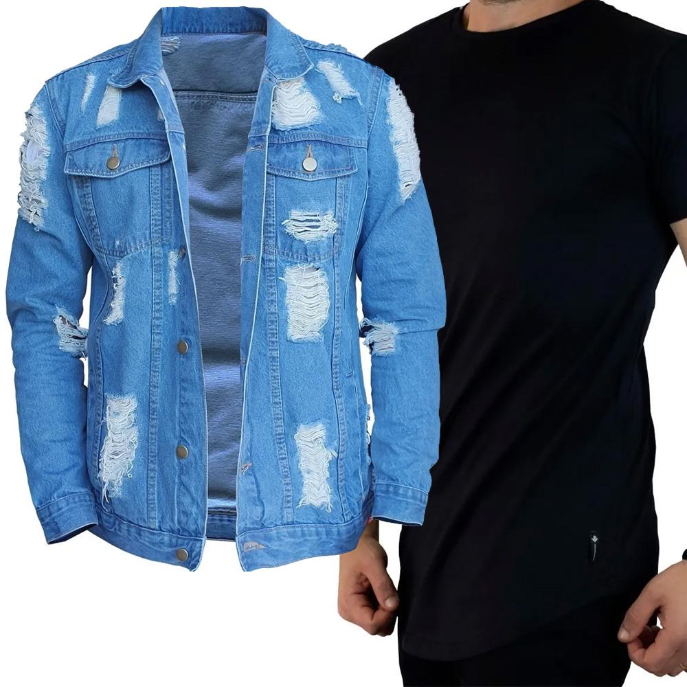 Kit Jaqueta Jeans + Camiseta Long