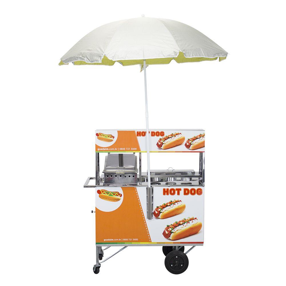 Carrinho de Hot Dog e Lanche com Chapa e Prensa