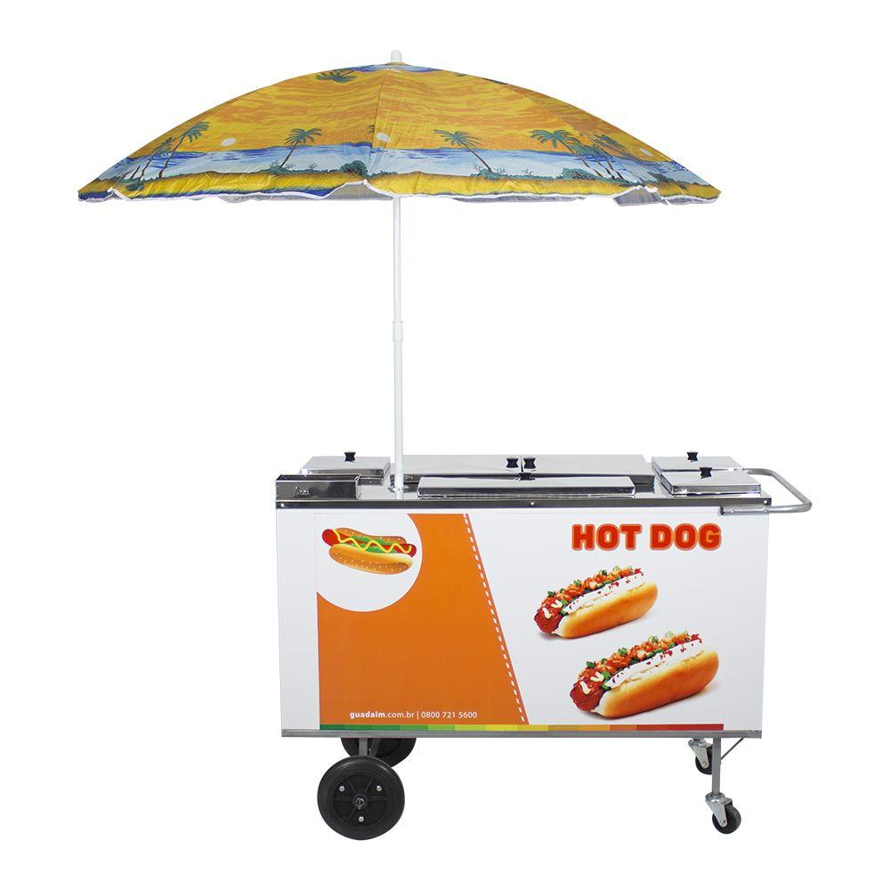 Carrinho de Hot Dog, Lanches e Cachorro Quente CH3 com Guarda-Sol Alsa