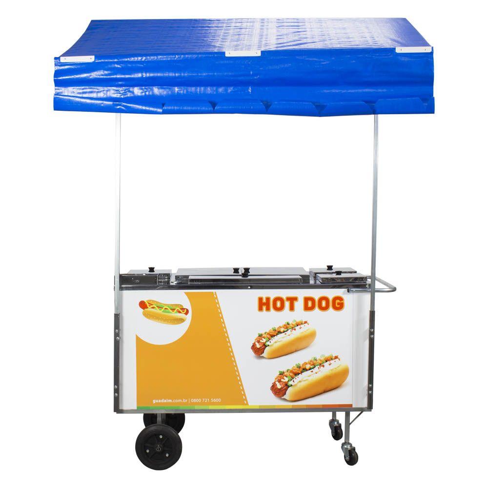 Carrinho de Hot Dog, Lanches e Cachorro Quente CH3 com Toldo Alsa