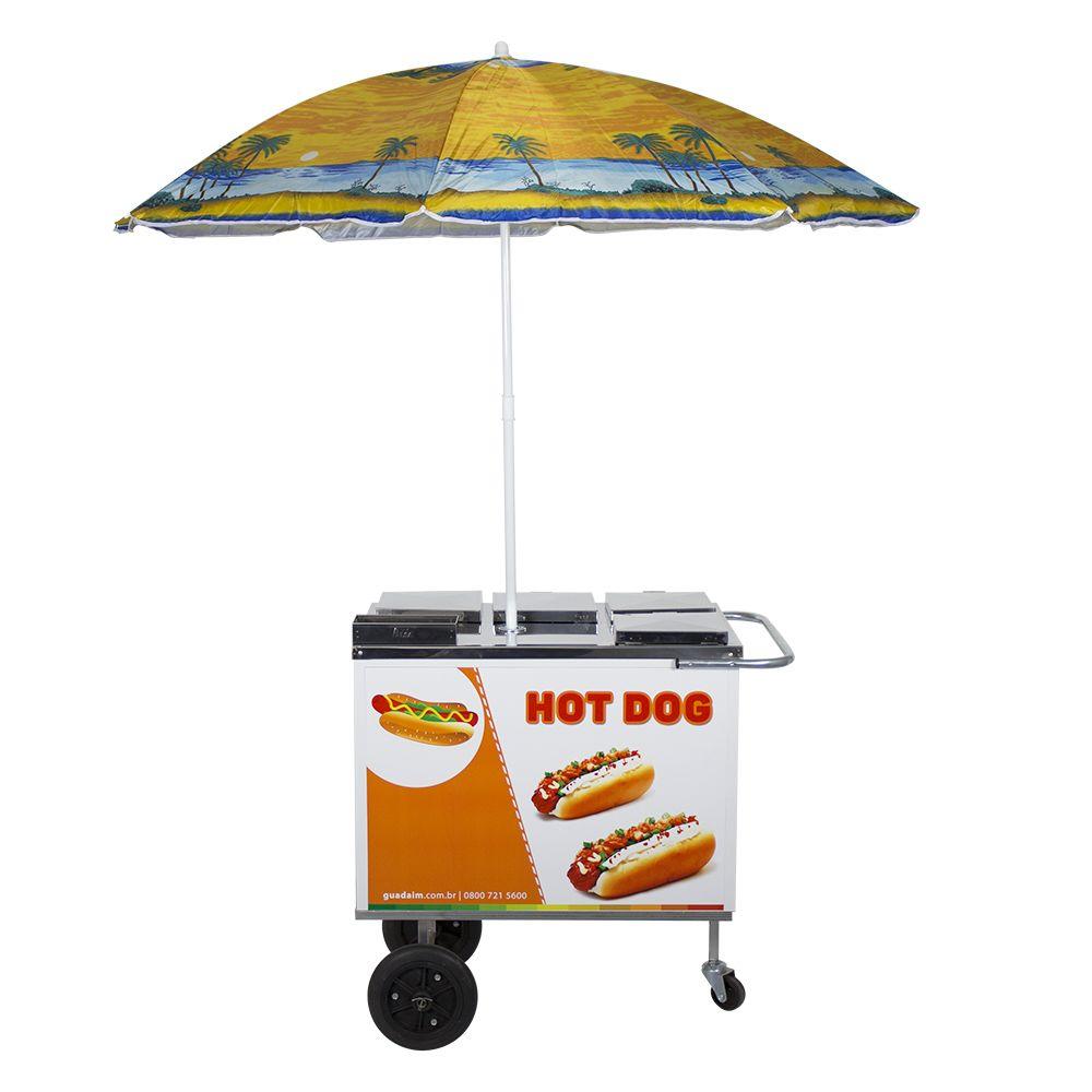 Carrinho de Hot Dog, Lanches e Cachorro Quente com Guarda-Sol CH1 Alsa