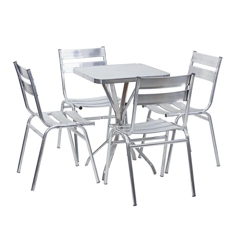 Mesa de Alumínio 60 cm x 60 cm Quadrada com 4 Cadeiras Fit