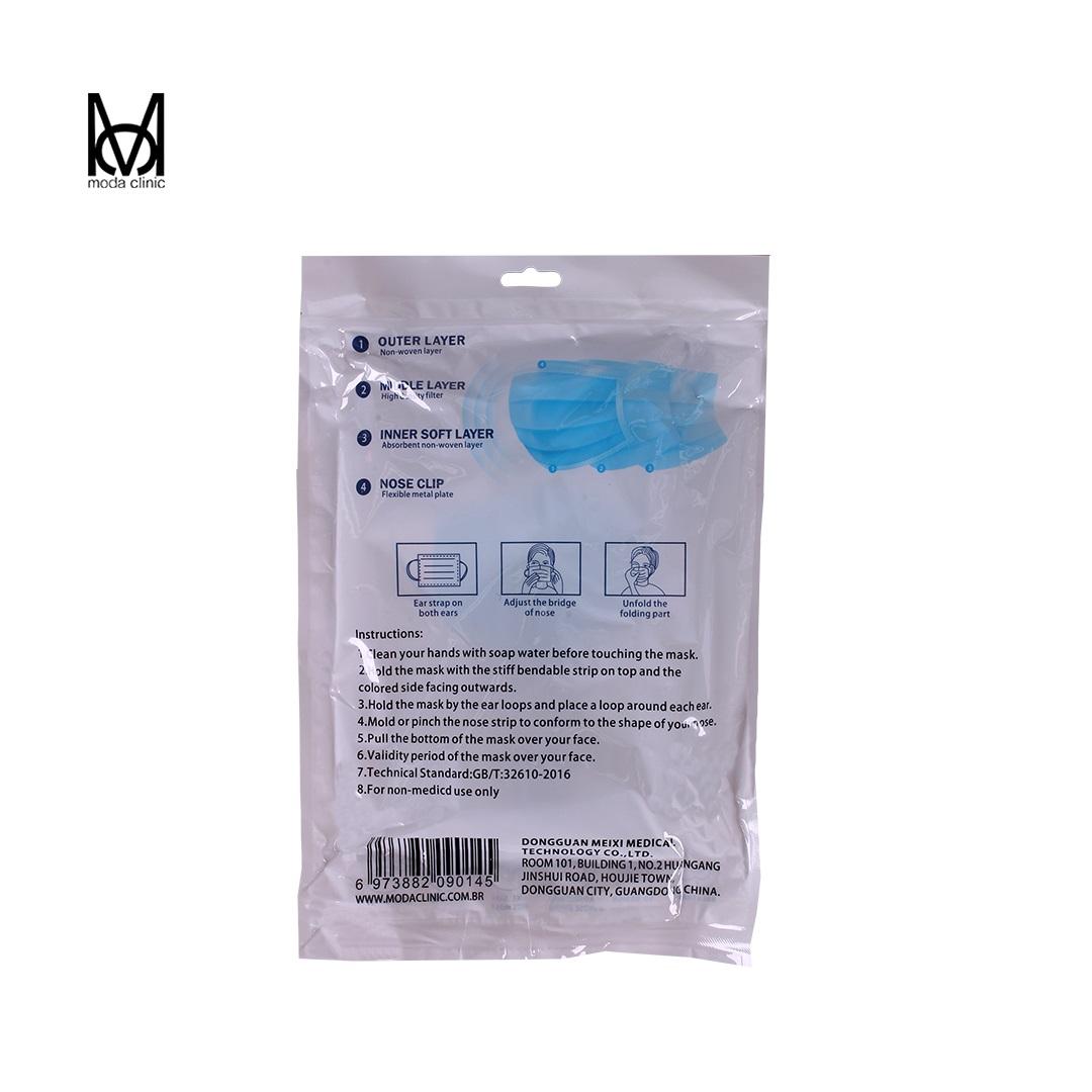 Máscara Descartável Tripla Azul - Pacote C/ 50