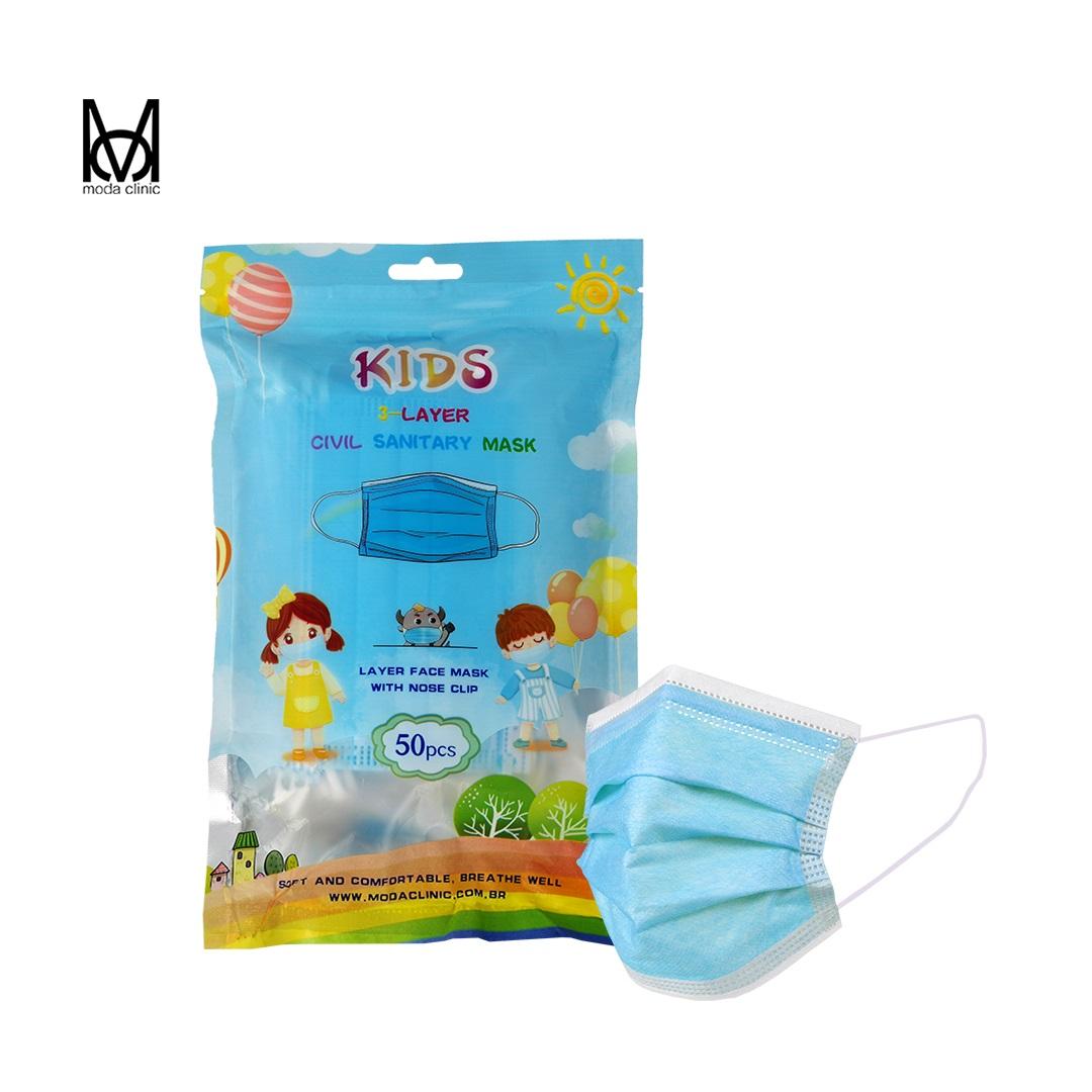 Máscara Descartável Tripla Infantil Azul  - Pacote C/ 50