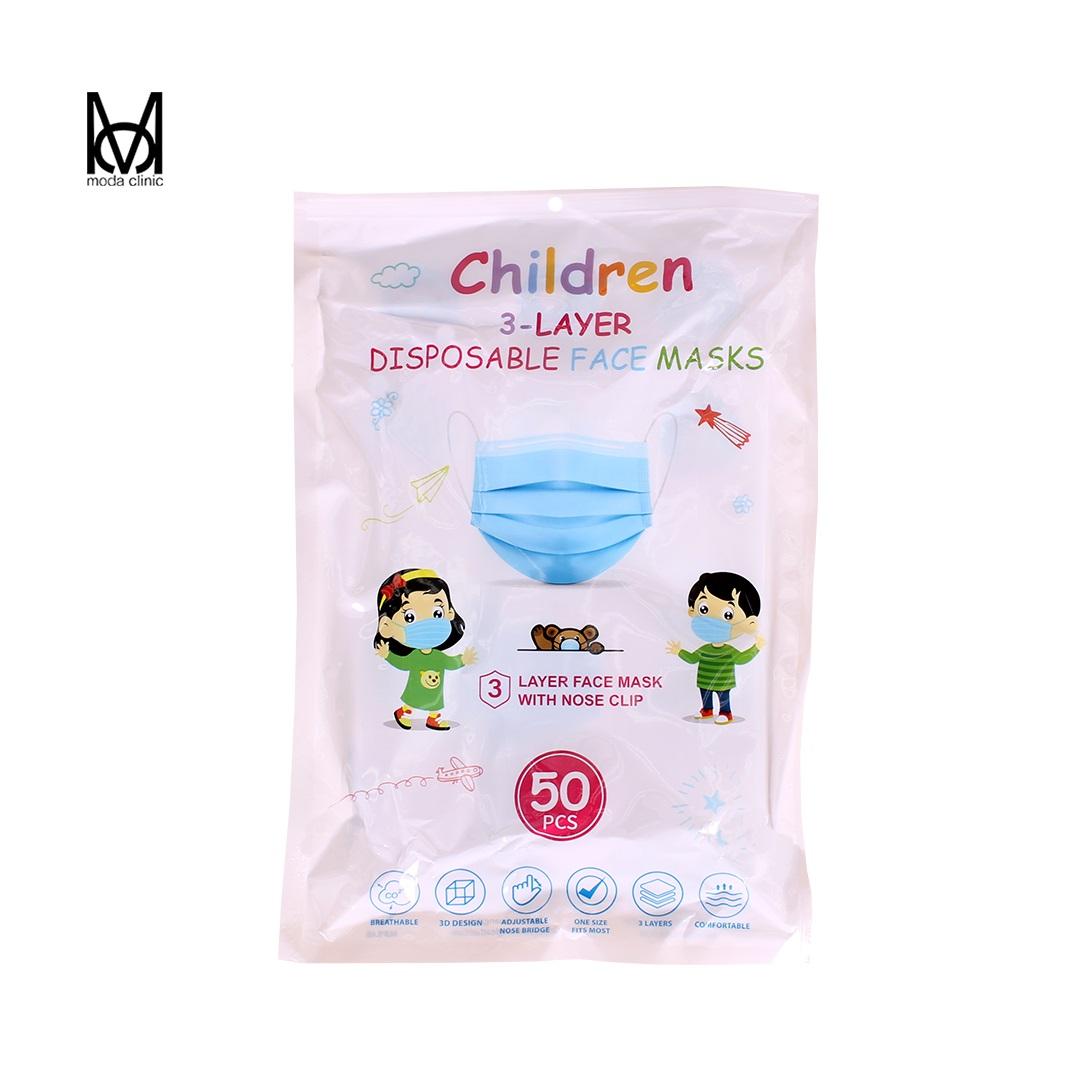 Máscara Descartável Tripla Infantil Branco  - Pacote C/ 50