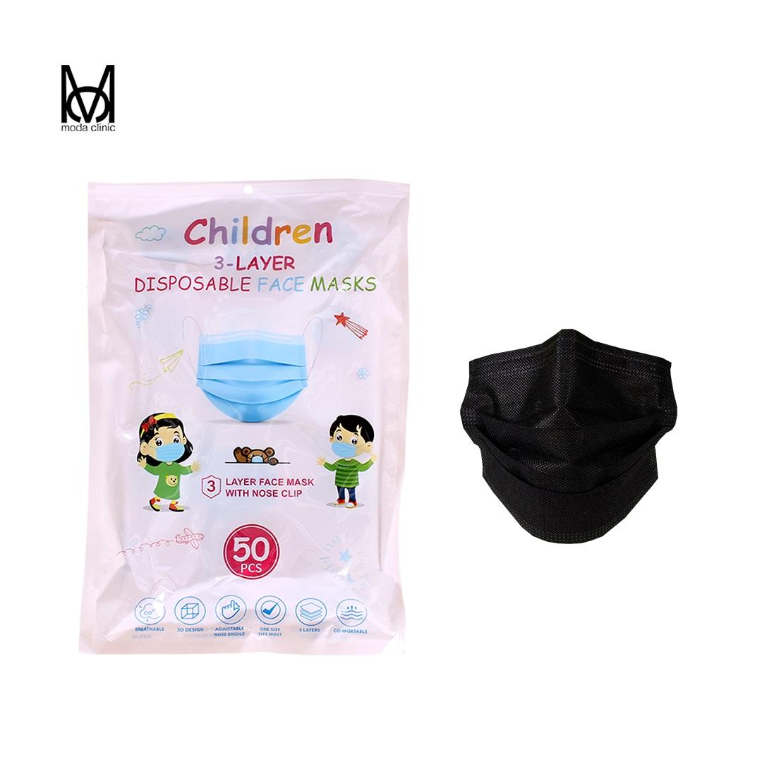 Máscara Descartável Tripla Infantil Preto  - Pacote C/ 50