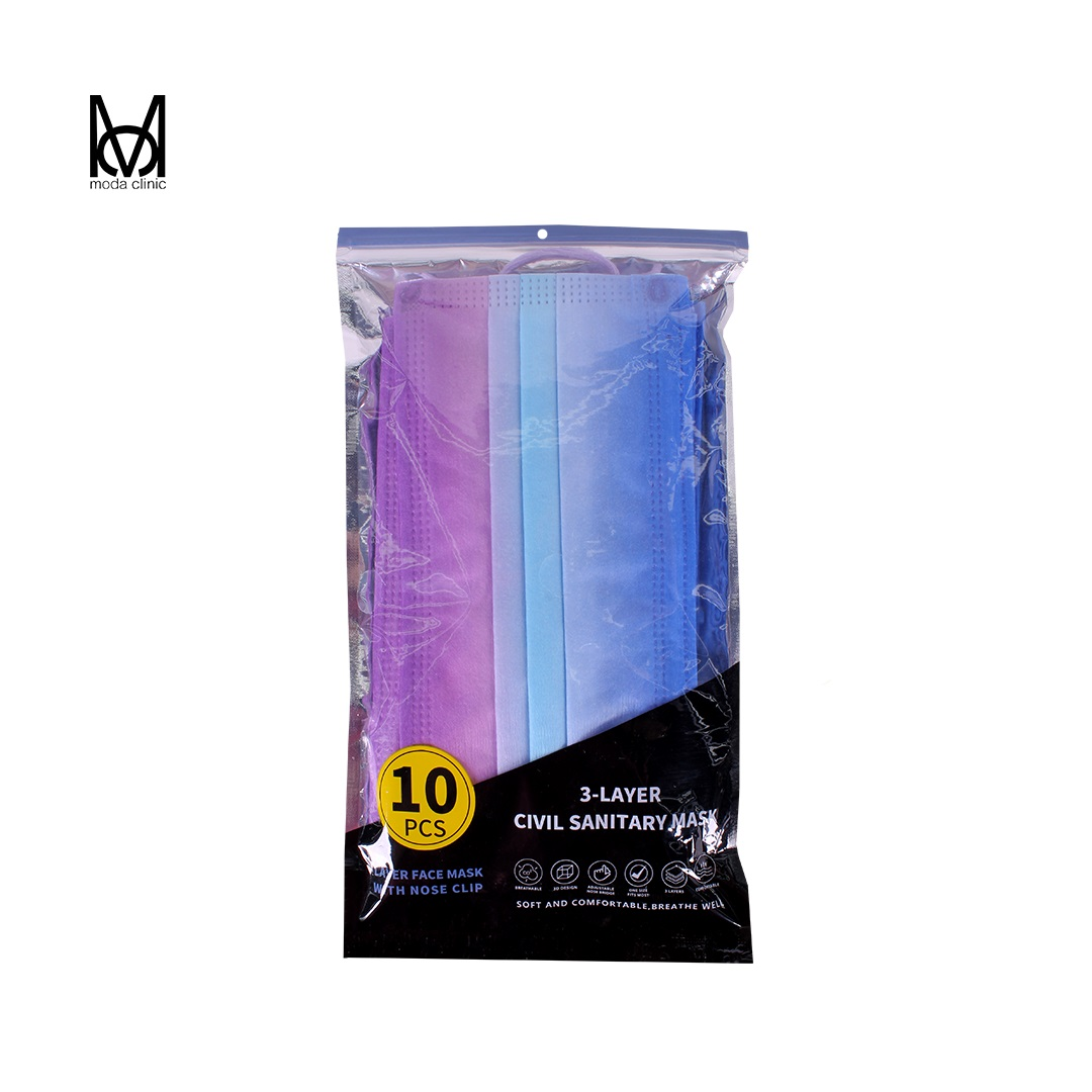 Máscara Descartável Tripla Multicolor - Pacote C/ 10
