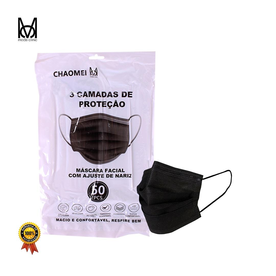 Máscara Descartável Tripla Preto - Pacote C/ 50