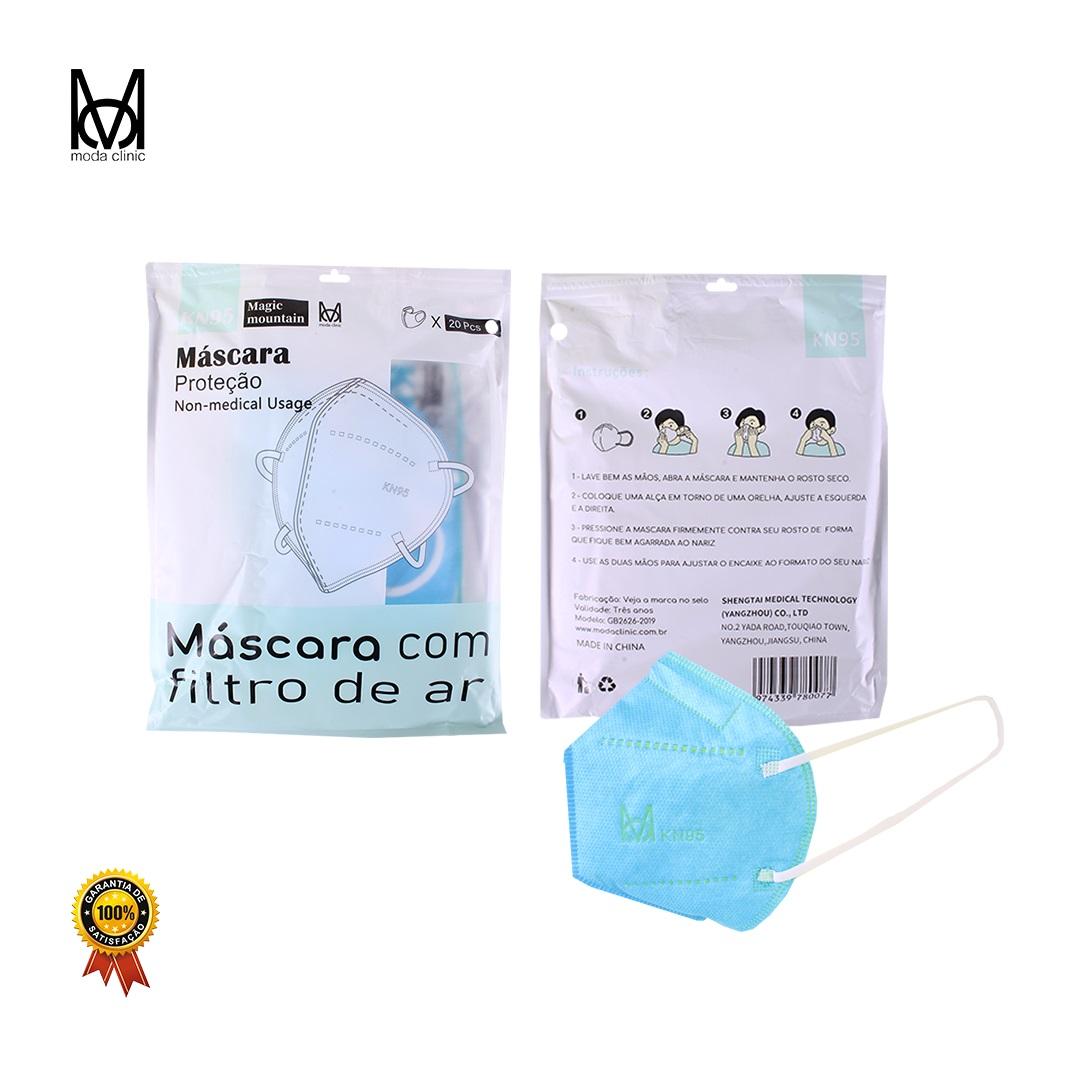 Máscara KN95 Azul - Pacote C/ 20 Unidades