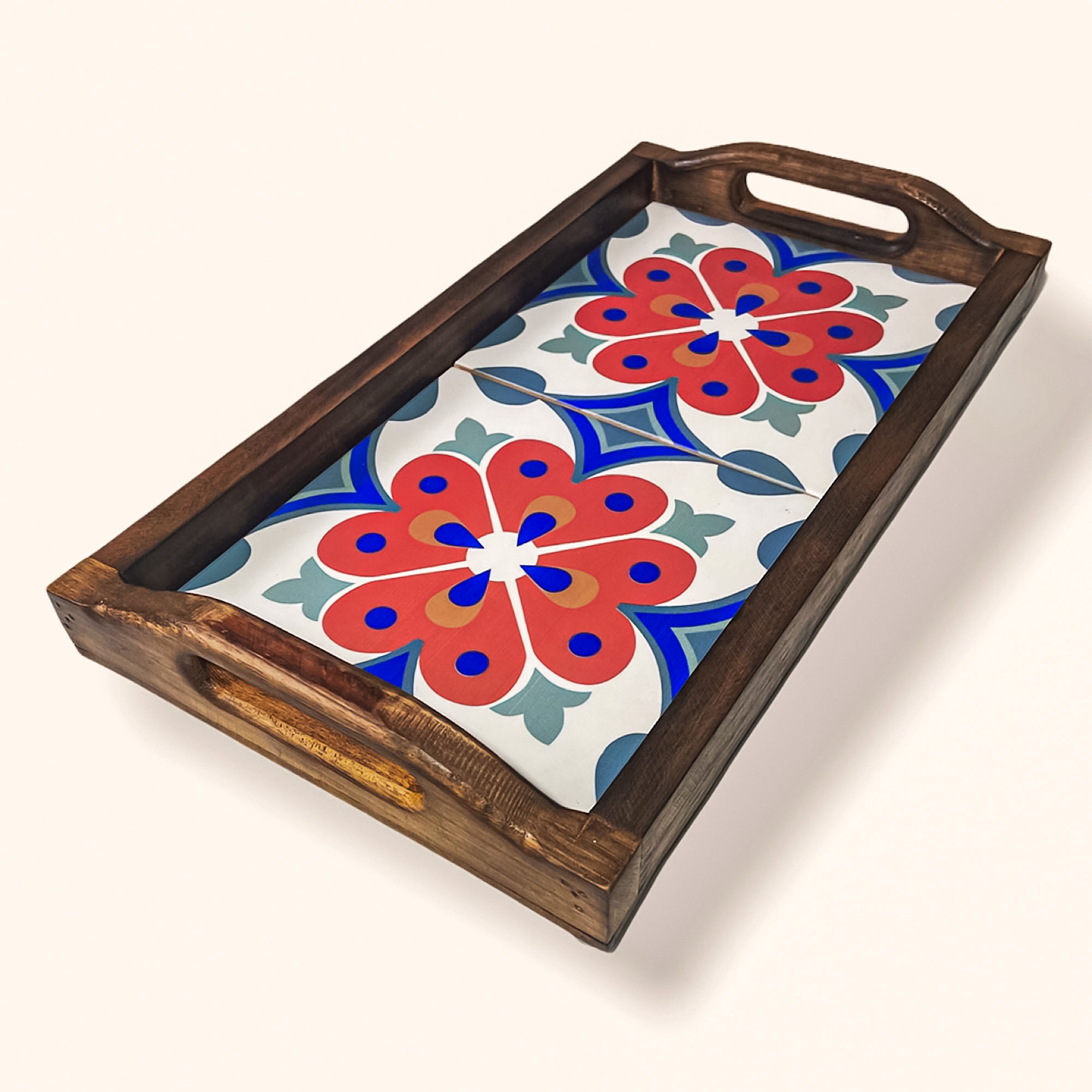 Bandeja Rústica  2 Ladrilhos - Floral Vermelho com Azul
