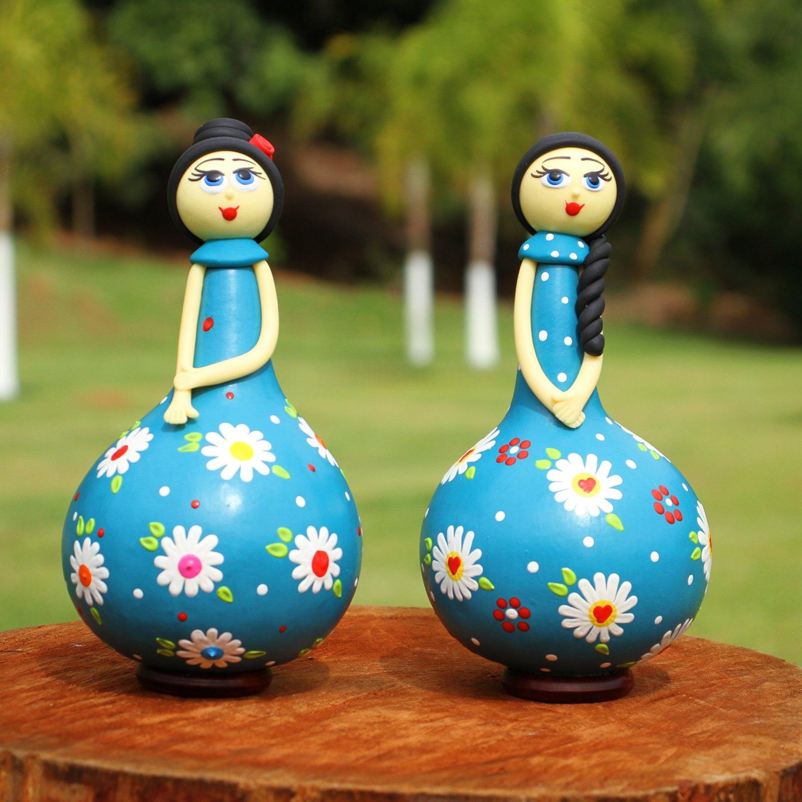 Conjunto Bonecas Delicadas em Cabaça - Azul