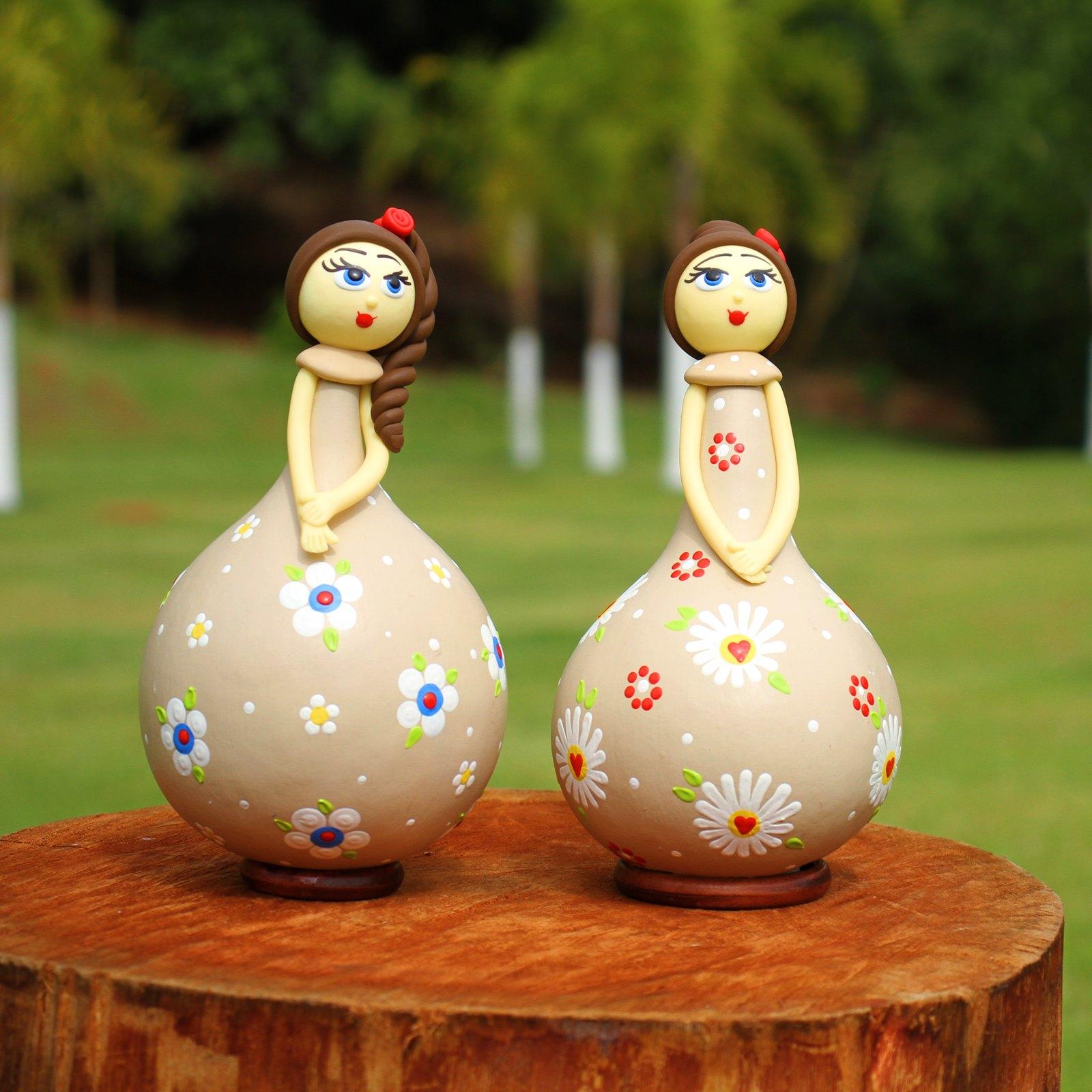 Conjunto Bonecas Delicadas em Cabaça -Beje