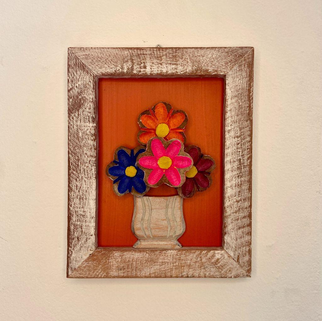 Quadro de Flores Rústico Laranja