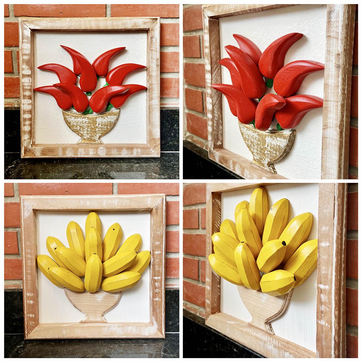 Kit  Quadros Rústicos  3D  em Formato Banana e Pimenta