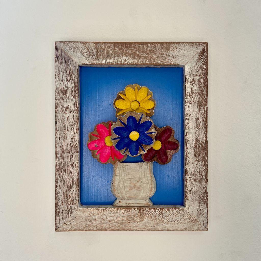 Quadro de Flores Rústico Azul