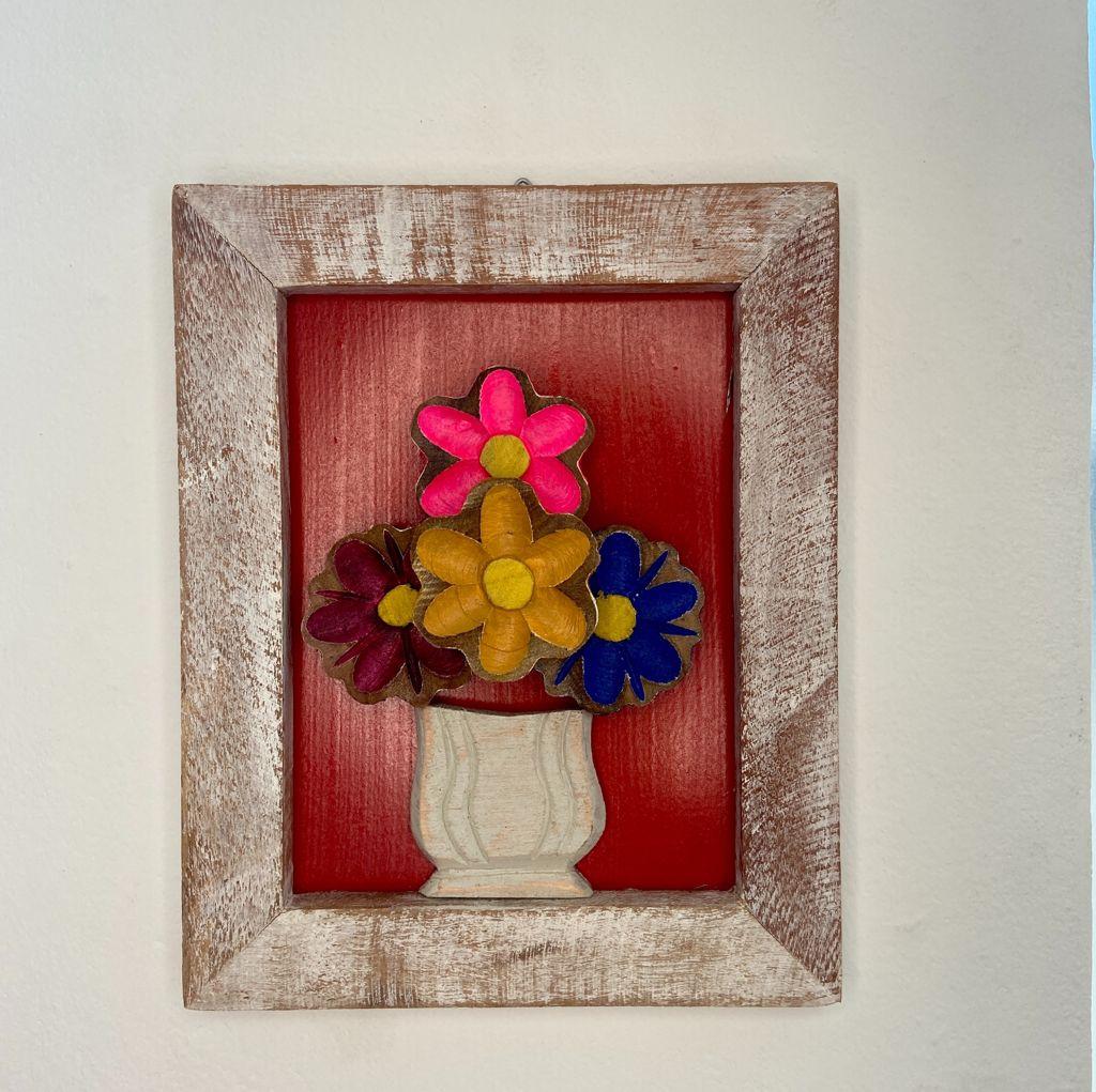 Quadro de Flores Rústico Vermelho