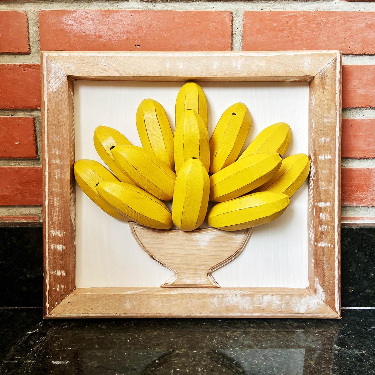 Quadro Rústico  3D   em Formato Banana