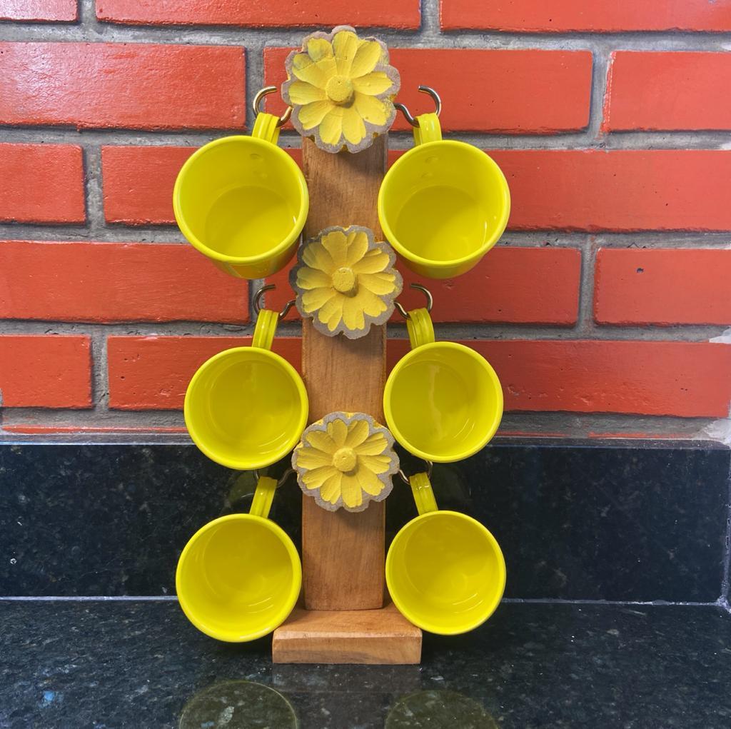 Suporte Artesanal Florido Amarelo c/ 6 Canecas
