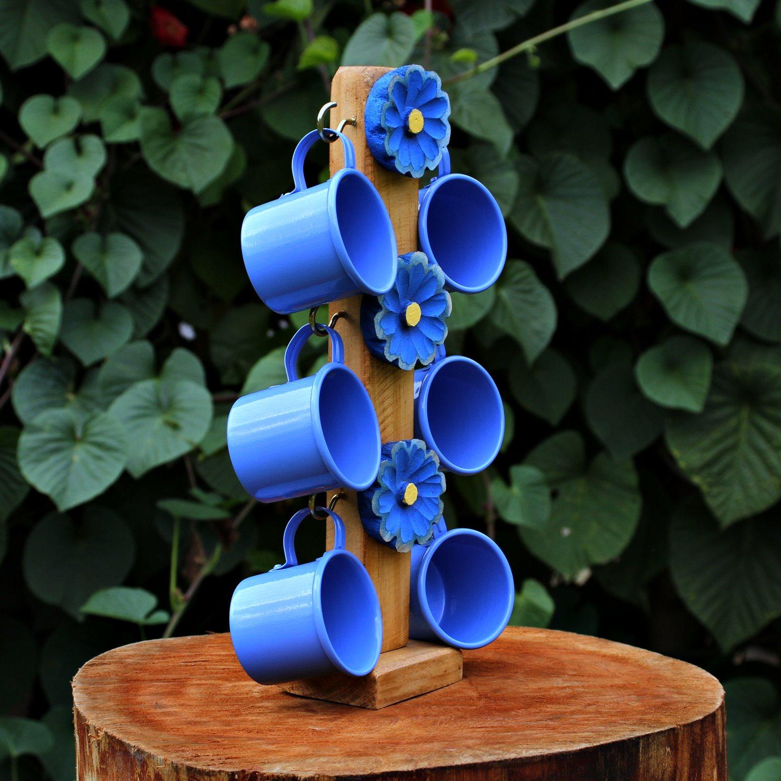 Suporte Artesanal Florido Azul c/ 6 Canecas