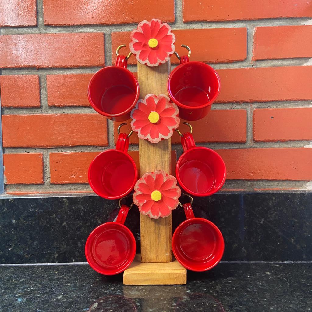 Suporte Artesanal Florido Vermelho c/ 6 Canecas