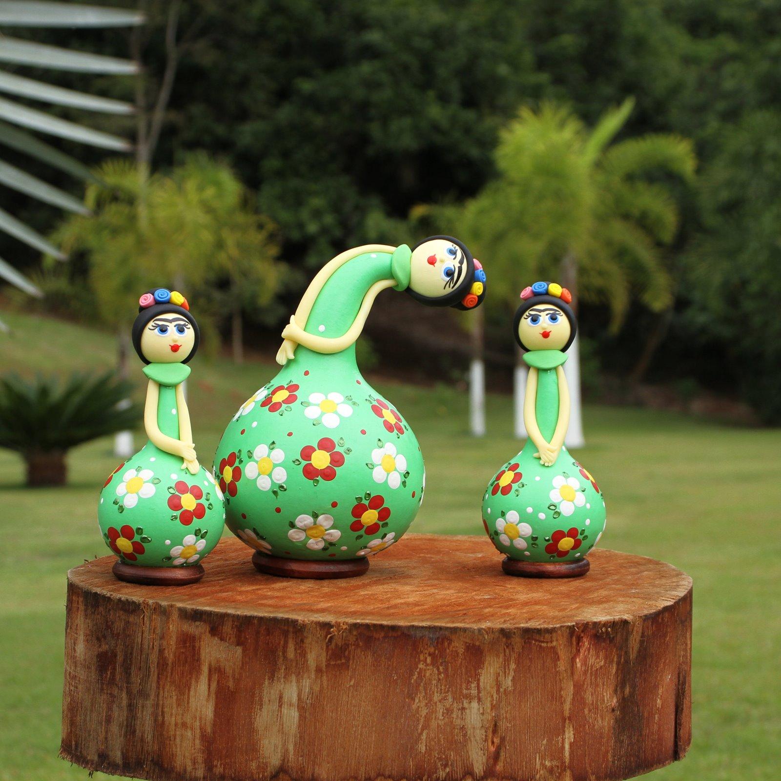 Trio Bonecas Frida Kahlo em Cabaça